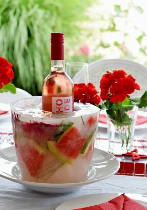 idée déco de table seau à glace fleuri diy pastèque