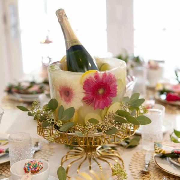 idée déco de table seau à glace fleuri diy pour anniversaire