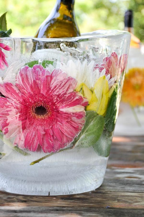 idée déco de table soirée en plein air seau à glace fleuri diy