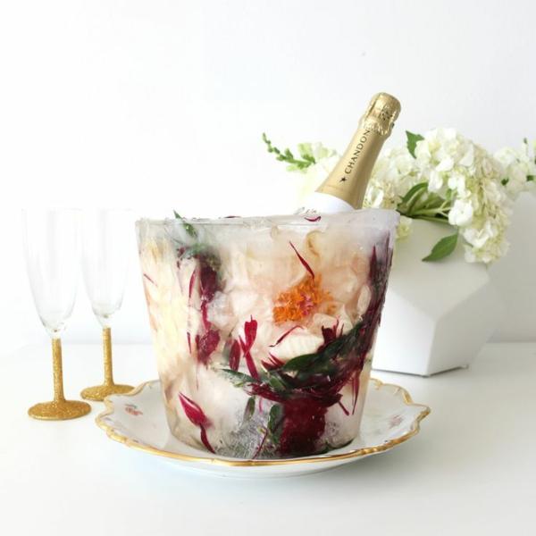 idée déco table de mariage seau à glace fleuri diy