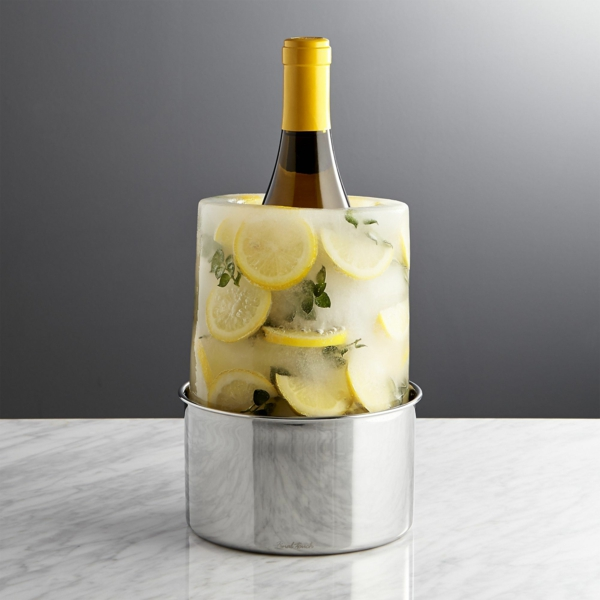 idée décoration de table seau à glace fleuri citron et herbes aromatiques