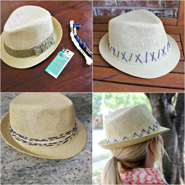 idée de chapeau de paille personnalisé broderie fil à tricoter