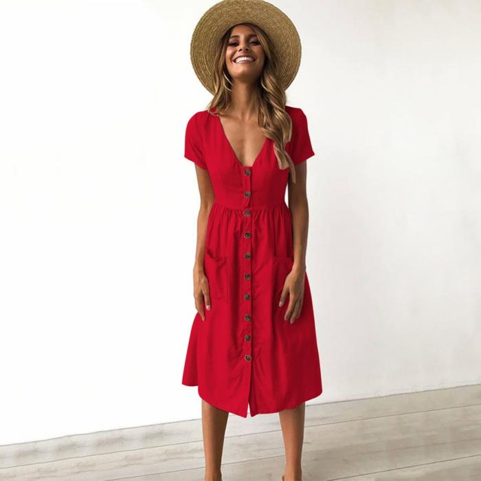 jolie robe estivale rouge boutonnée devant