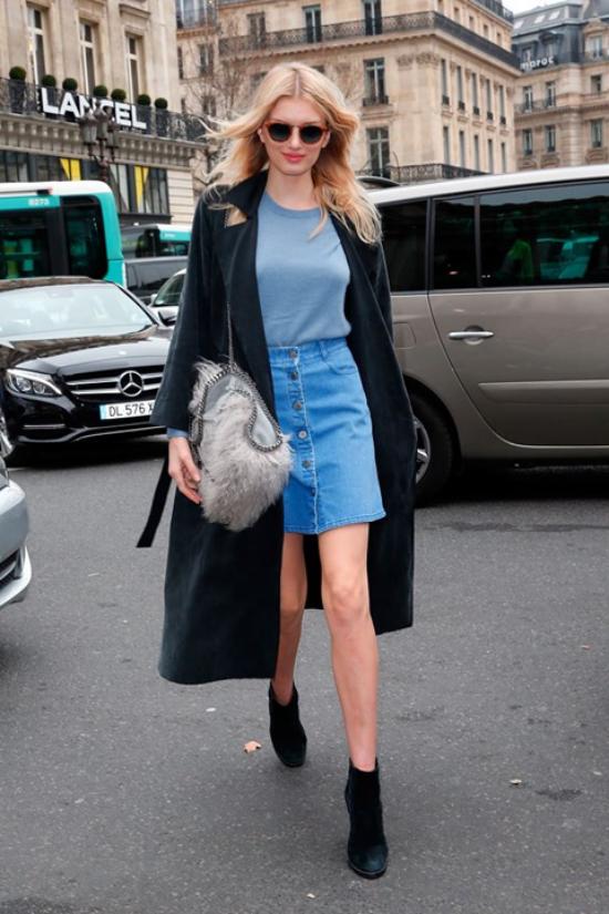 jupe en jean courte bottes noires