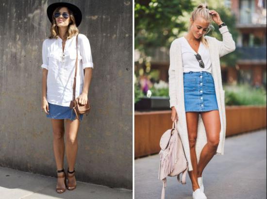 jupe en jean courte chemisier blanc