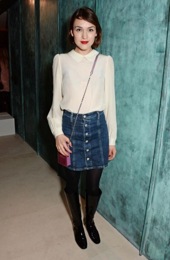 jupe en jean courte collant et bottes