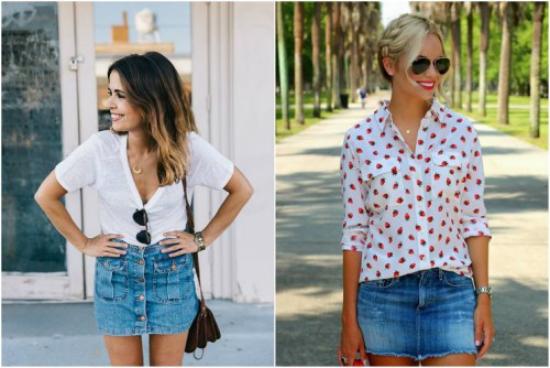 jupe en jean courte combinaison avec blouse