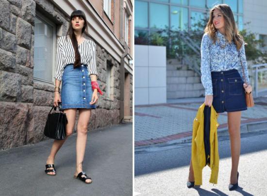 jupe en jean courte rayures et motifs