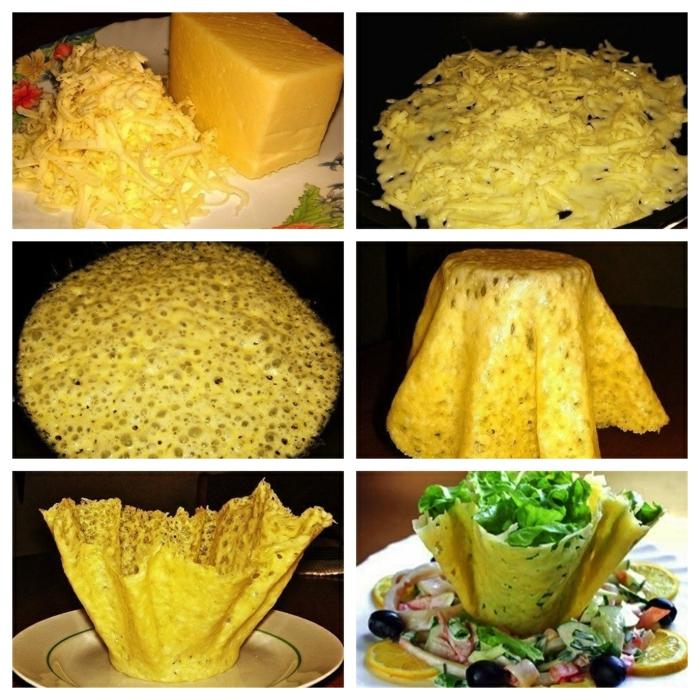 pas à pas vaisselle comestible au fromage