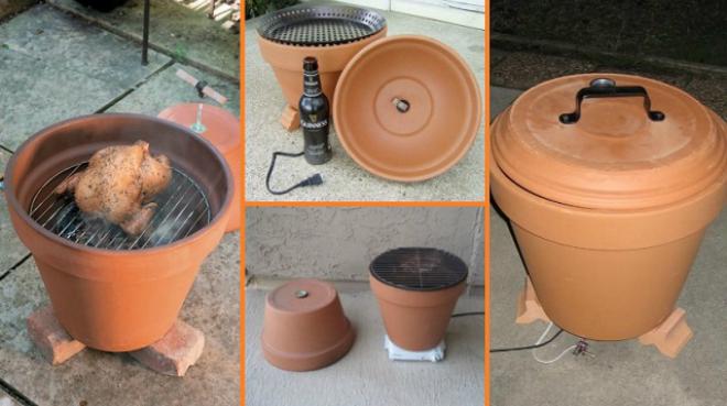 pot en terre cuite gril installé dans le pot
