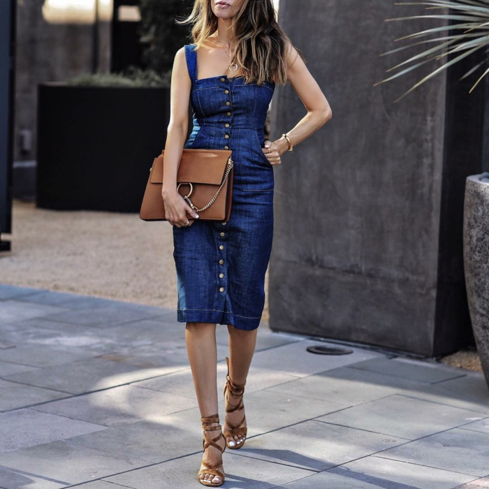 robe estivale moderne en jean été 2019