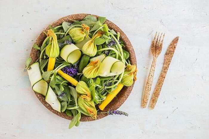 salade assiette mangeable vaisselle comestible