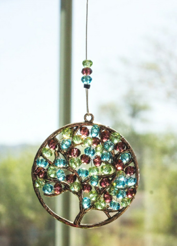 Attrape-soleil à fabriquer arbre de vie pierres en verre métal