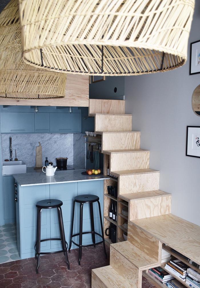 aménagement petit appartement pièce à deux étages