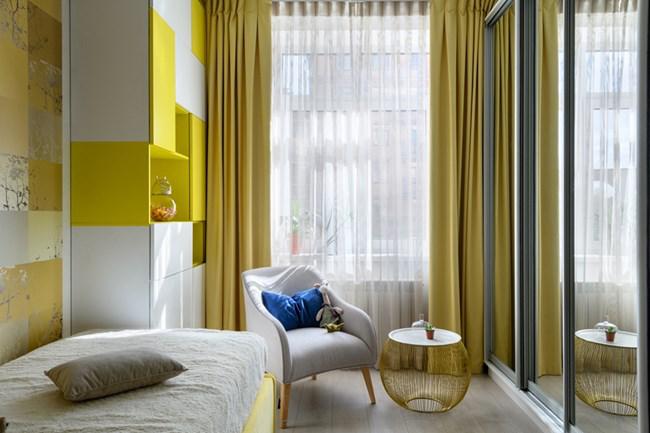 aménager appartement 45m2 armoire en jaune et blanc