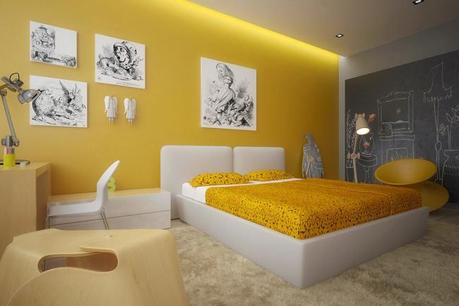 aménager appartement 45m2 jaune pastel au mur