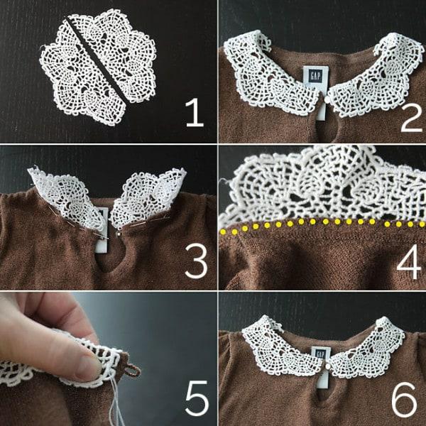 bricolage avec un napperon blouse customisée