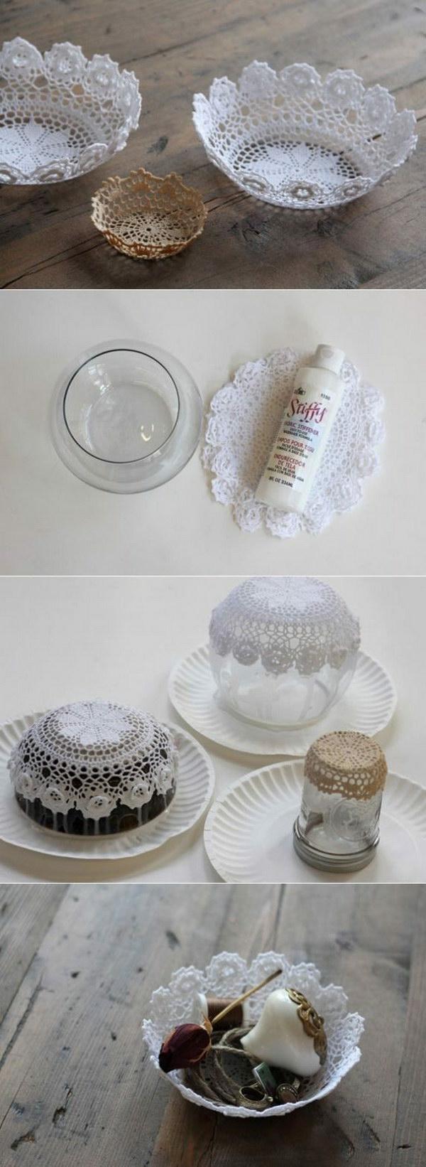 bricolage avec un napperon bol original diy