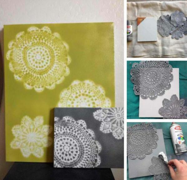 bricolage avec un napperon déco couverture de livre diy