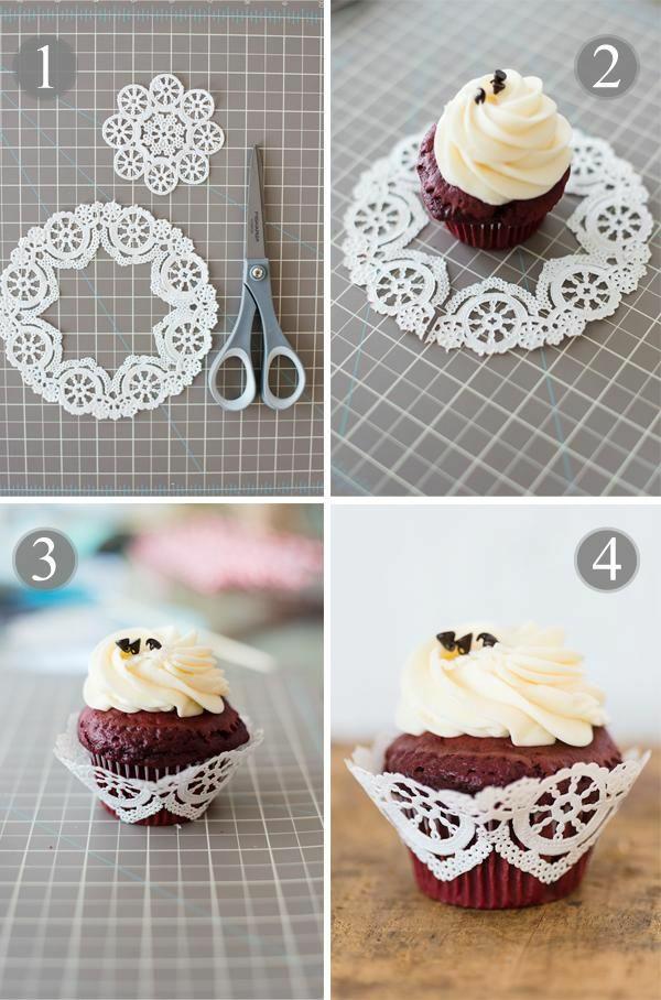 bricolage avec un napperon décoration à muffin diy