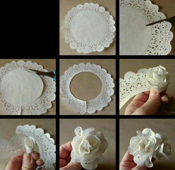 bricolage avec un napperon fleur en napperon de papier diy