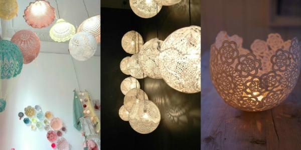 bricolage avec un napperon lampe personnalisée