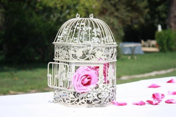 déco cage oiseau blanche déco mariage roses