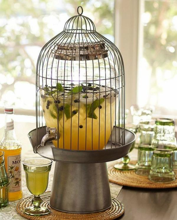 déco cage oiseau bocal boissons