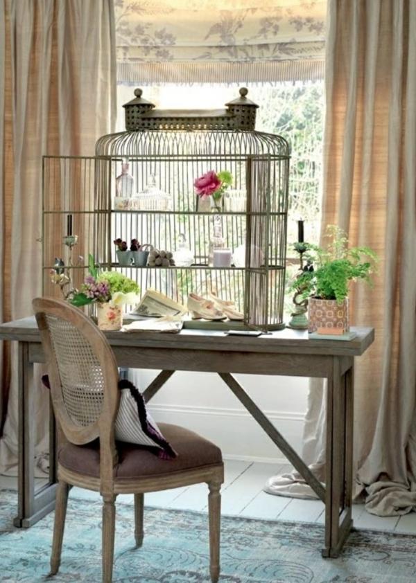 déco cage oiseau coin bureau étagère créative