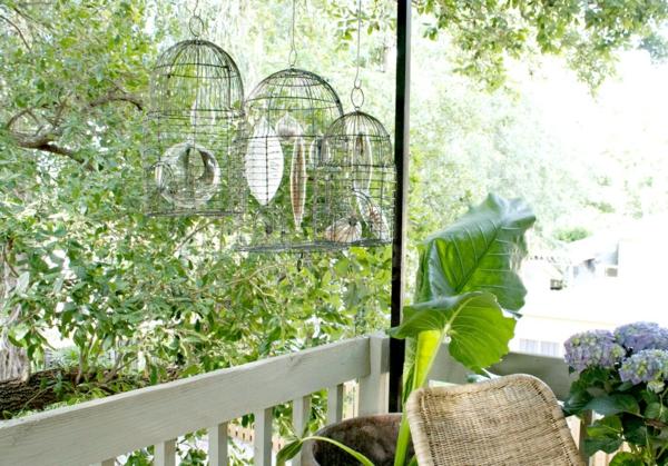 déco cage oiseau cristaux en verre terrasse
