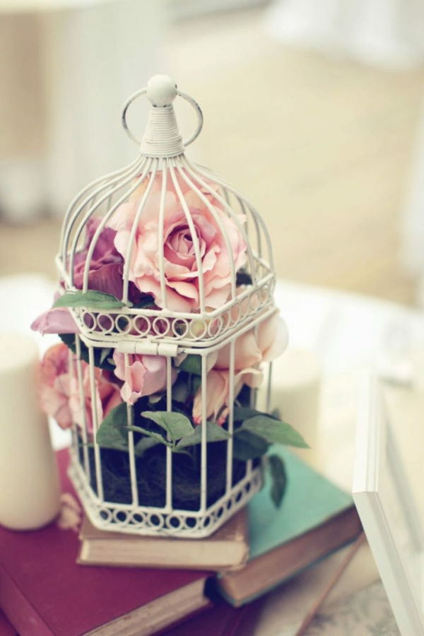déco cage oiseau déco de table roses