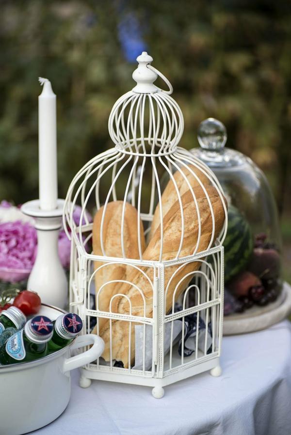 déco cage oiseau dîner en plein air jardin