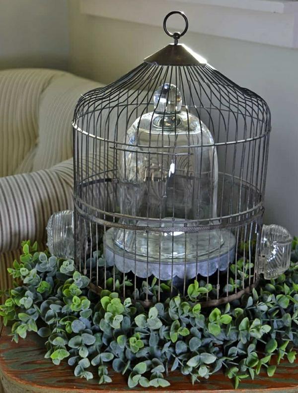 déco cage oiseau et cloche en verre salon