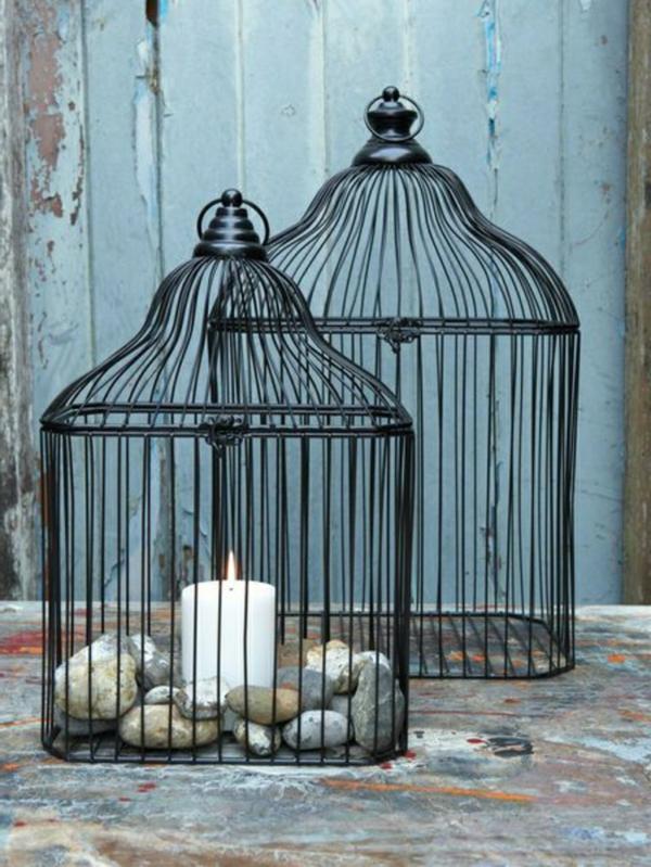 déco cage oiseau et pierres chandelier