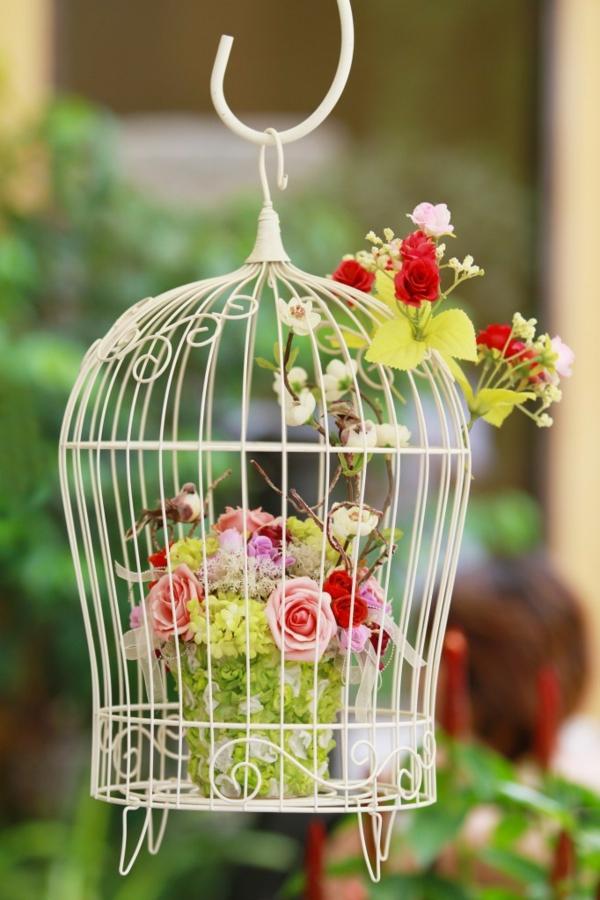 déco cage oiseau fleurs balcon