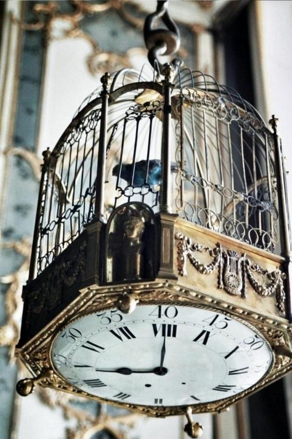 déco cage oiseau horloge