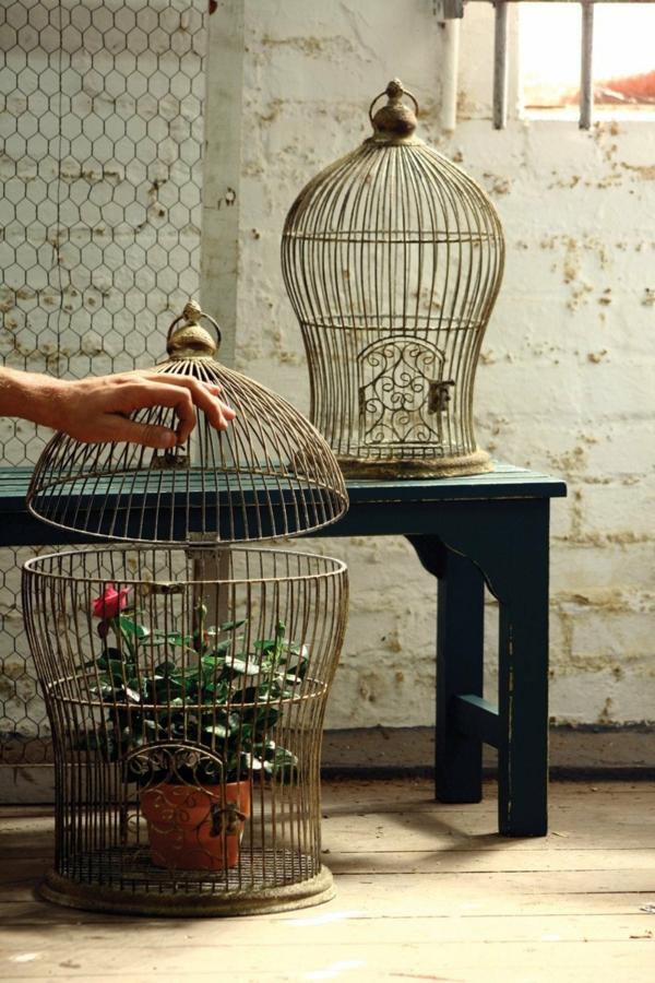 déco cage oiseau jardinière rétro