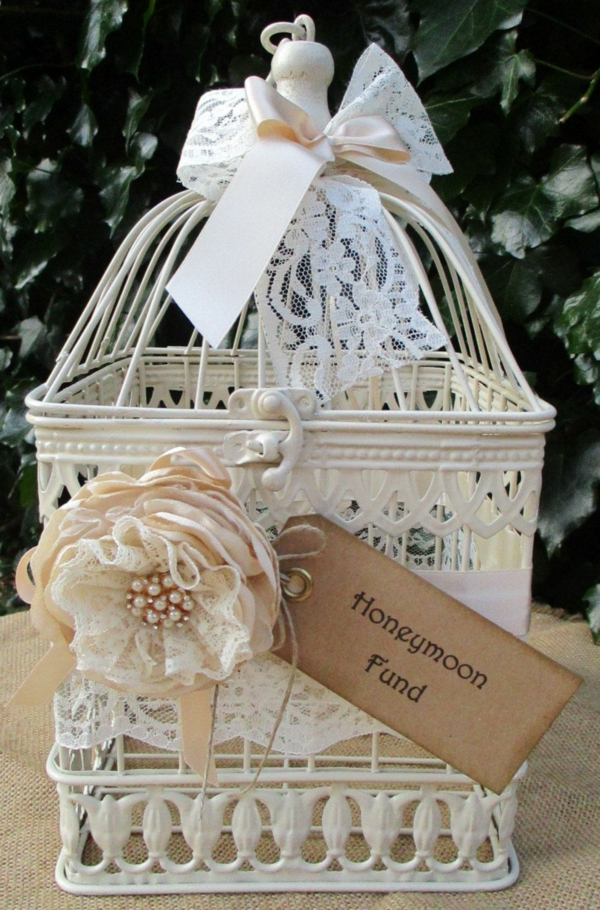 déco cage oiseau mariage boîte pour fonds de lune de miel