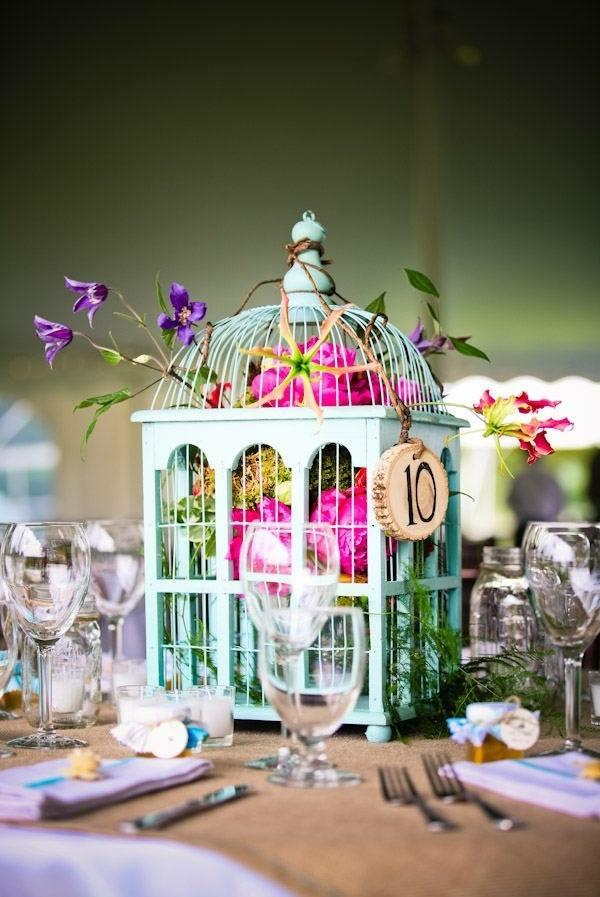 déco cage oiseau mariage numéro de table