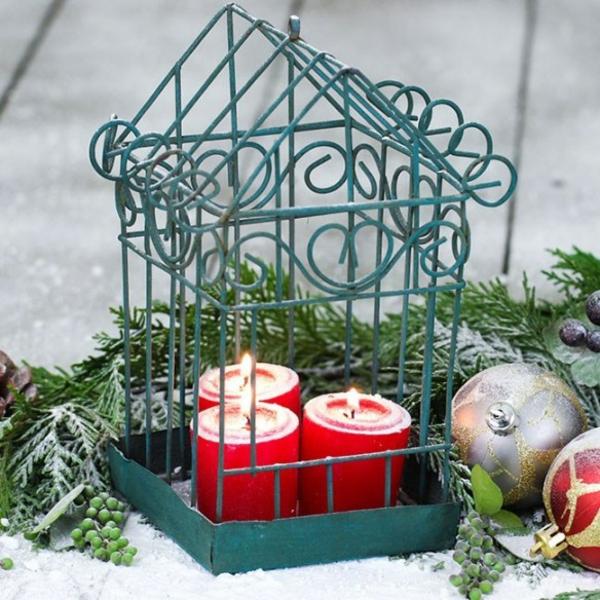 déco cage oiseau noël bougies