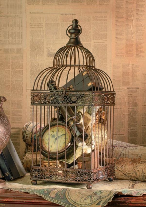 déco cage oiseau objets antiques