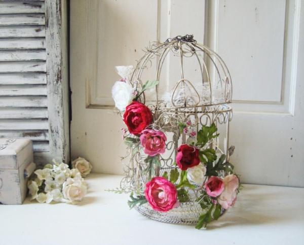 déco cage oiseau printemps fleurs