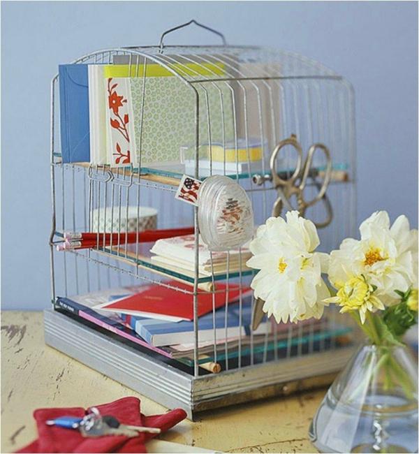 déco cage oiseau recyclage étagère de bureau