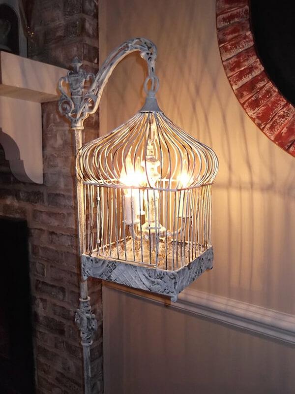 déco cage oiseau recyclage lampe vintage