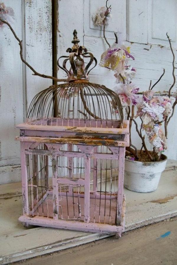 déco cage oiseau rose style vintage