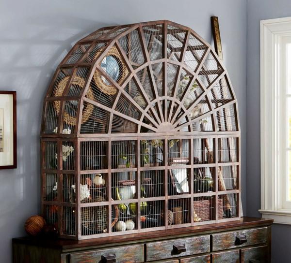 déco cage oiseau salon rangement mural