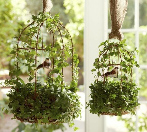 déco cage oiseau terrasse plantes toile de jute