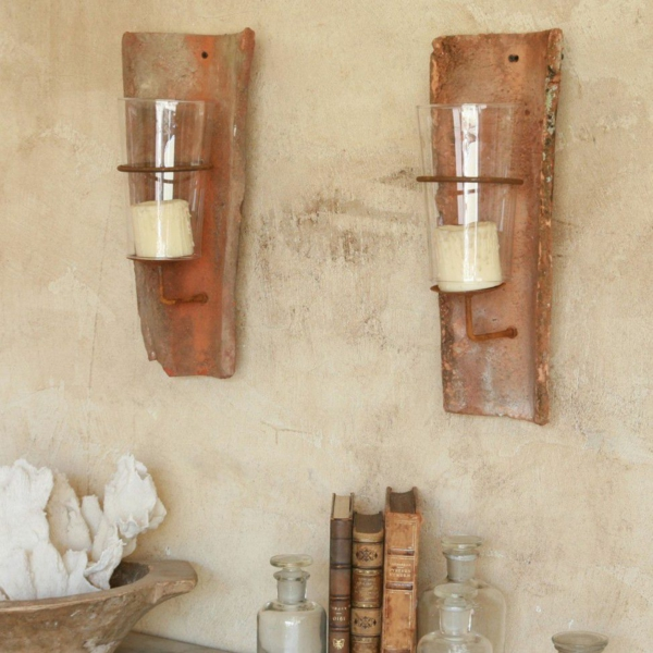fabriquer déco jardin en tuiles de terre cuite chandelier mural diy
