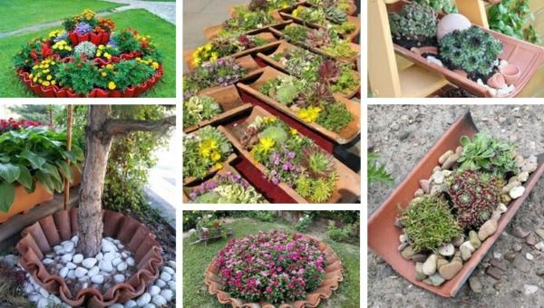 fabriquer déco jardin en tuiles de terre cuite conteneurs de plantes diy