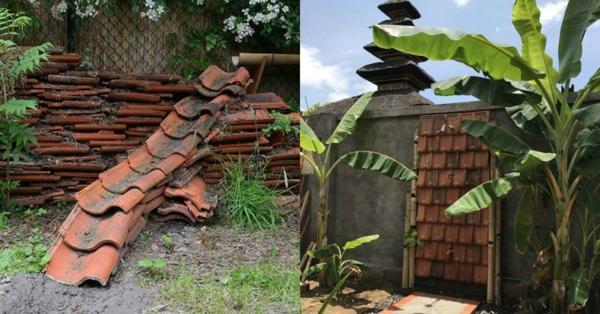 fabriquer déco jardin en tuiles de terre cuite douche extérieure diy